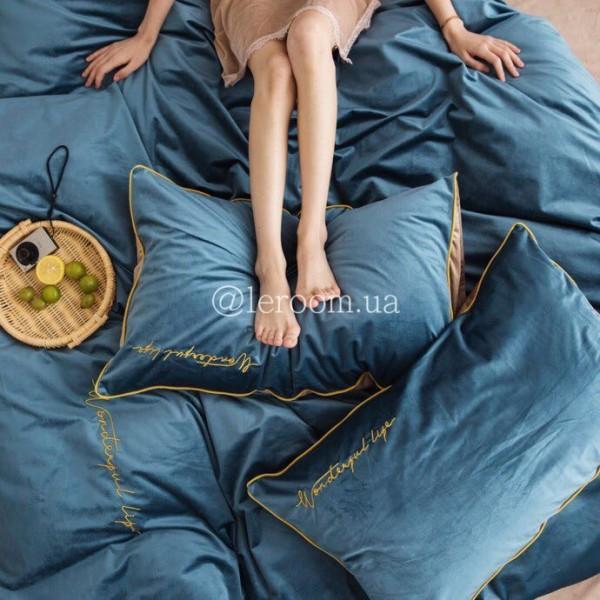 Зимний комплект из велюра Синий с бежевым
