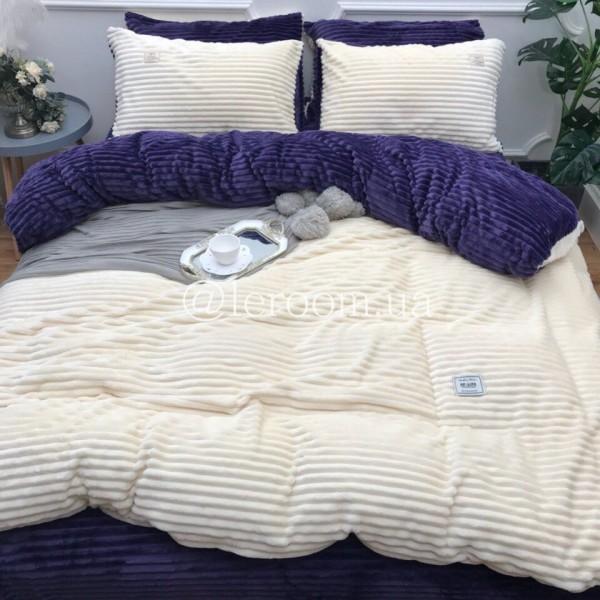 Велюровый зимний комплект Белый с фиолетовым